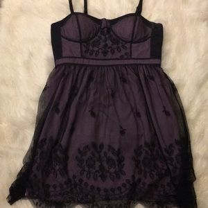 American Eagle Purple and Black Lace Bustier Dress